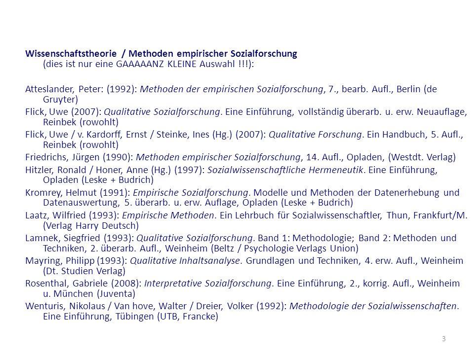 3 Wissenschaftstheorie / Methoden empirischer Sozialforschung (dies ist nur eine GAAAAANZ KLEINE Auswahl !!!): Atteslander, Peter: (1992): Methoden de