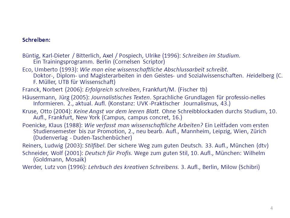 4 Schreiben: Büntig, Karl-Dieter / Bitterlich, Axel / Pospiech, Ulrike (1996): Schreiben im Studium. Ein Trainingsprogramm. Berlin (Cornelsen Scriptor