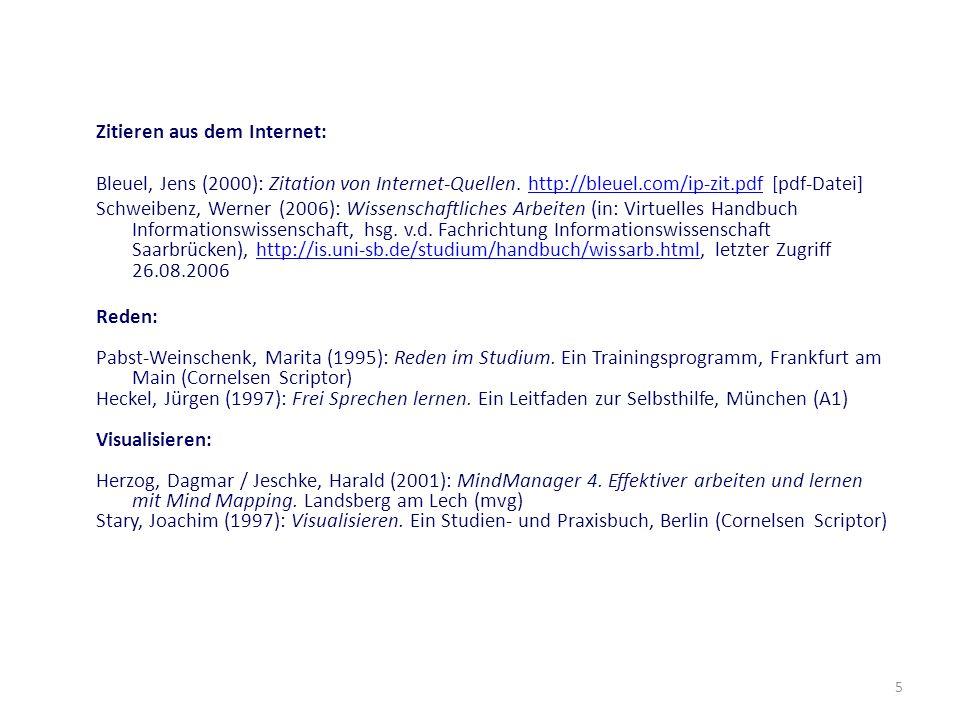 5 Zitieren aus dem Internet: Bleuel, Jens (2000): Zitation von Internet-Quellen. http://bleuel.com/ip-zit.pdf [pdf-Datei]http://bleuel.com/ip-zit.pdf