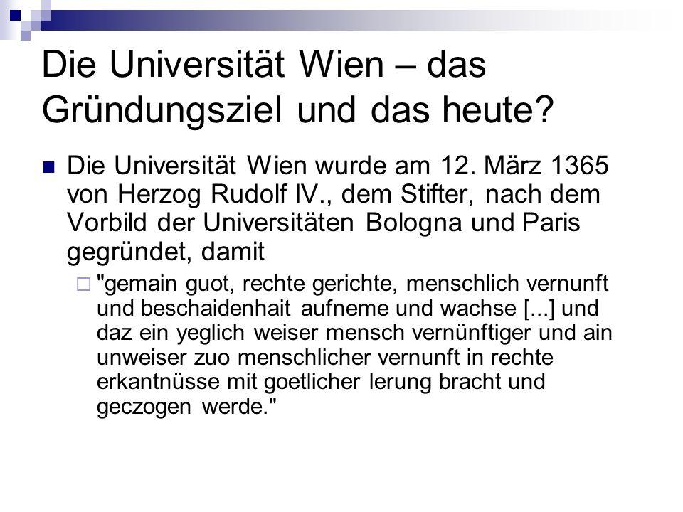 Die Universität Wien – das Gründungsziel und das heute? Die Universität Wien wurde am 12. März 1365 von Herzog Rudolf IV., dem Stifter, nach dem Vorbi