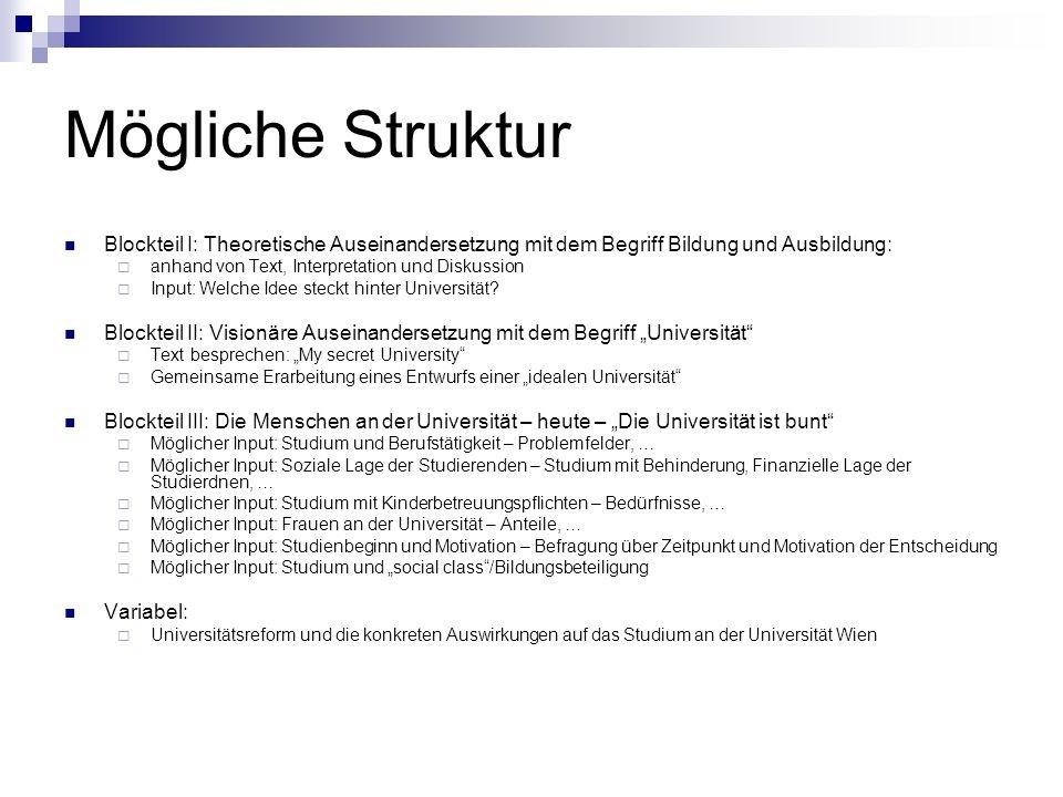 Mögliche Struktur Blockteil I: Theoretische Auseinandersetzung mit dem Begriff Bildung und Ausbildung: anhand von Text, Interpretation und Diskussion