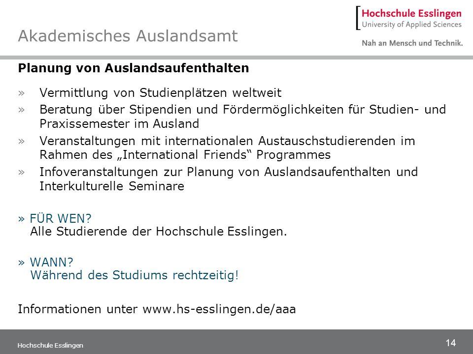 14 Hochschule Esslingen Akademisches Auslandsamt Planung von Auslandsaufenthalten »Vermittlung von Studienplätzen weltweit »Beratung über Stipendien u
