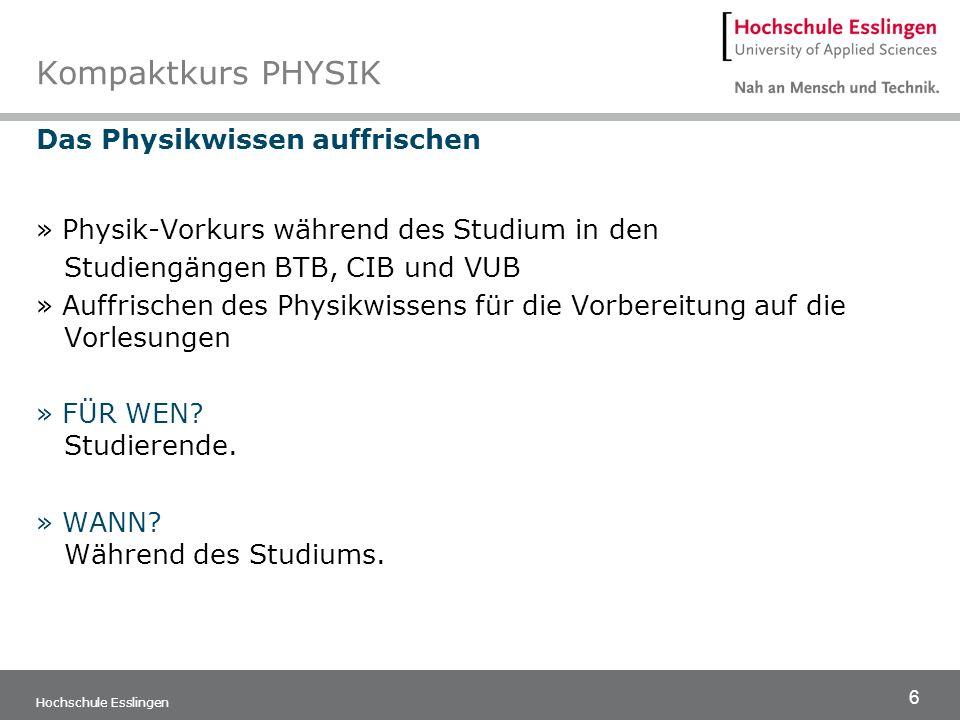 6 Hochschule Esslingen Kompaktkurs PHYSIK Das Physikwissen auffrischen » Physik-Vorkurs während des Studium in den Studiengängen BTB, CIB und VUB » Au