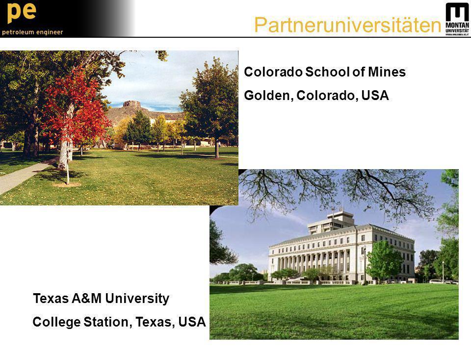 Colorado School of Mines Golden, Colorado, USA Texas A&M University College Station, Texas, USA Partneruniversitäten