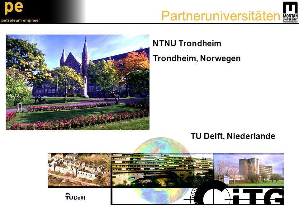 NTNU Trondheim Trondheim, Norwegen TU Delft, Niederlande Partneruniversitäten