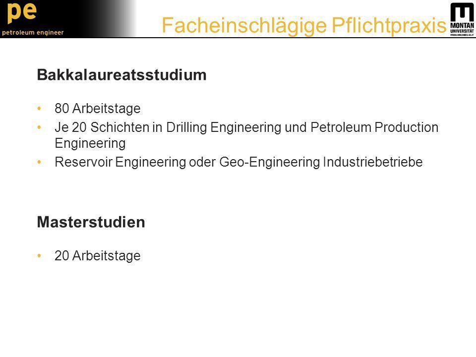 Bakkalaureatsstudium 80 Arbeitstage Je 20 Schichten in Drilling Engineering und Petroleum Production Engineering Reservoir Engineering oder Geo-Engineering Industriebetriebe Masterstudien 20 Arbeitstage Facheinschlägige Pflichtpraxis