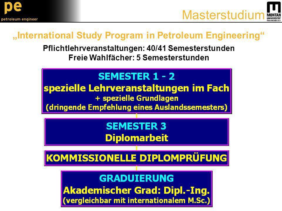 International Study Program in Petroleum Engineering Pflichtlehrveranstaltungen: 40/41 Semesterstunden Freie Wahlfächer: 5 Semesterstunden Masterstudium