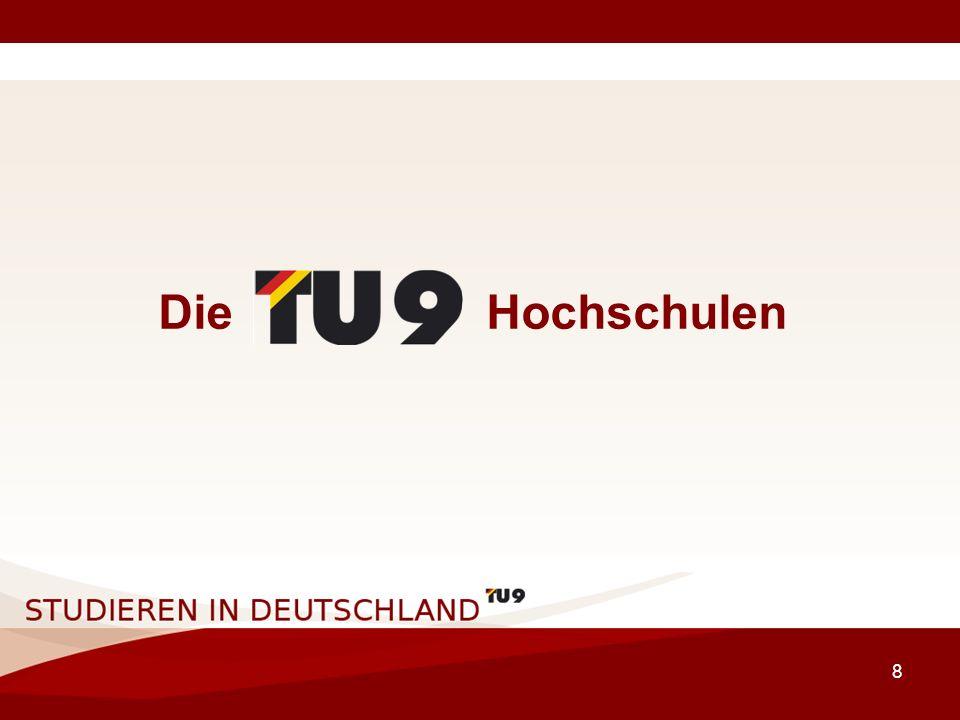 9 Die TU9 Hochschulen German Institutes of Technology –RWTH Aachen –TU Berlin –TU Braunschweig –TU Darmstadt –TU Dresden –Universität Hannover –Universität Karlsruhe (TH) –TU München –Universität Stuttgart