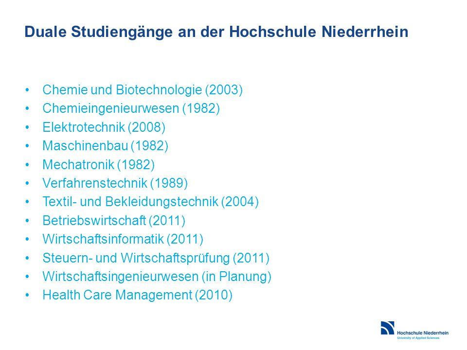 Duale Studiengänge an der Hochschule Niederrhein Chemie und Biotechnologie (2003) Chemieingenieurwesen (1982) Elektrotechnik (2008) Maschinenbau (1982