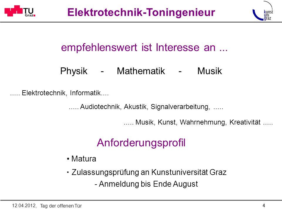 Elektrotechnik-Toningenieur 4 Anforderungsprofil Matura Zulassungsprüfung an Kunstuniversität Graz - Anmeldung bis Ende August empfehlenswert ist Inte