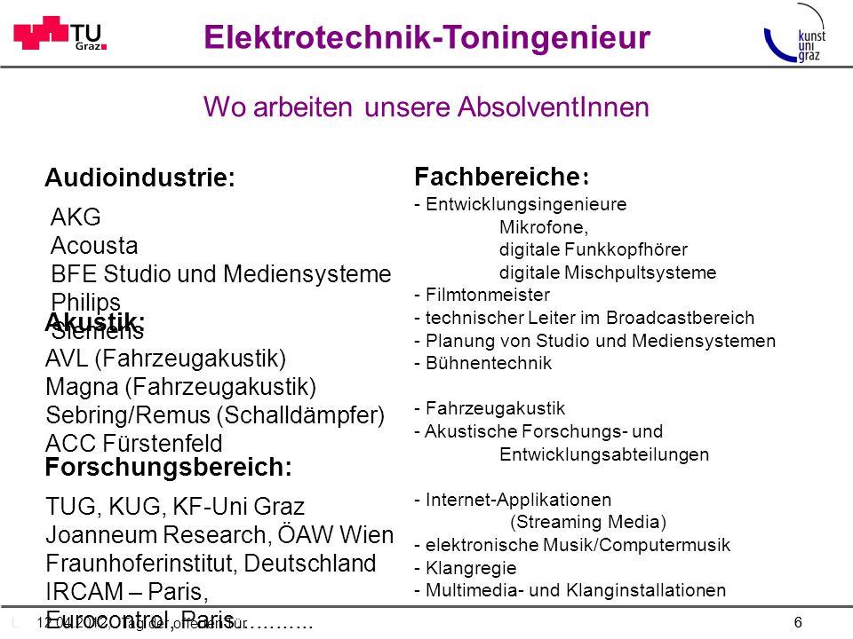 Elektrotechnik-Toningenieur Was ist das Besondere am Studium...