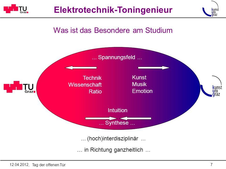 Elektrotechnik-Toningenieur Was ist das Besondere am Studium... Spannungsfeld... Technik Wissenschaft Ratio Kunst Musik Emotion... Synthese... Intuiti