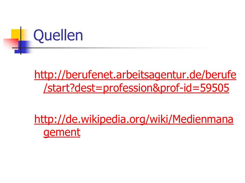 Quellen http://berufenet.arbeitsagentur.de/berufe /start?dest=profession&prof-id=59505 http://de.wikipedia.org/wiki/Medienmana gement