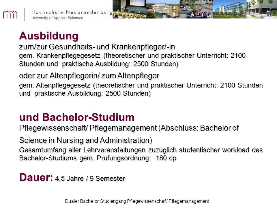 Dualer Bachelor-Studiengang Pflegewissenschaft/ Pflegemanagement Ausbildung zum/zur Gesundheits- und Krankenpfleger/-in gem. Krankenpflegegesetz (theo