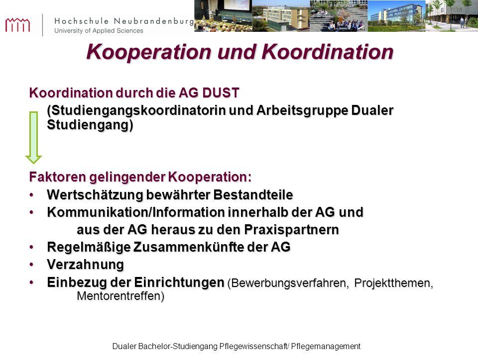 Dualer Bachelor-Studiengang Pflegewissenschaft/ Pflegemanagement Kooperation und Koordination Koordination durch die AG DUST (Studiengangskoordinatori
