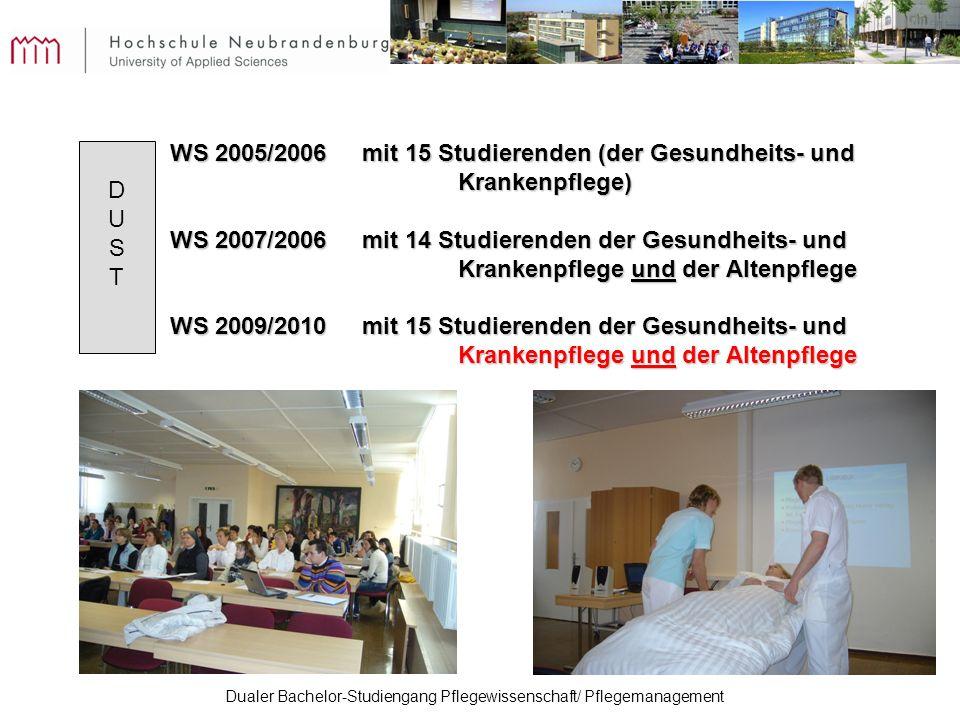 Dualer Bachelor-Studiengang Pflegewissenschaft/ Pflegemanagement WS 2005/2006 mit 15 Studierenden (der Gesundheits- und Krankenpflege) WS 2007/2006 mi
