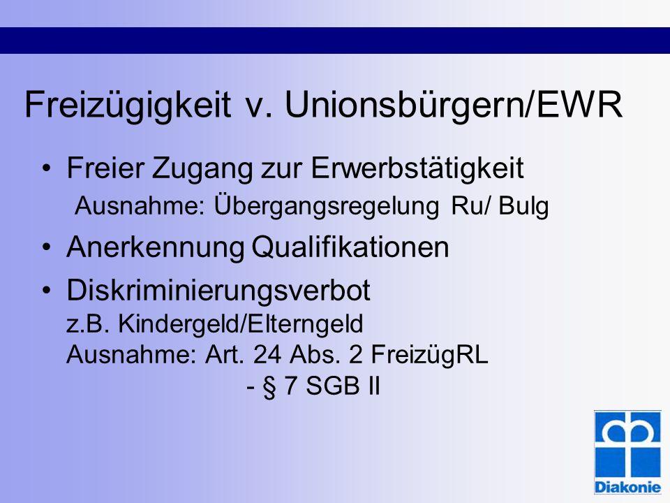 Freizügigkeit v. Unionsbürgern/EWR Freier Zugang zur Erwerbstätigkeit Ausnahme: Übergangsregelung Ru/ Bulg Anerkennung Qualifikationen Diskriminierung