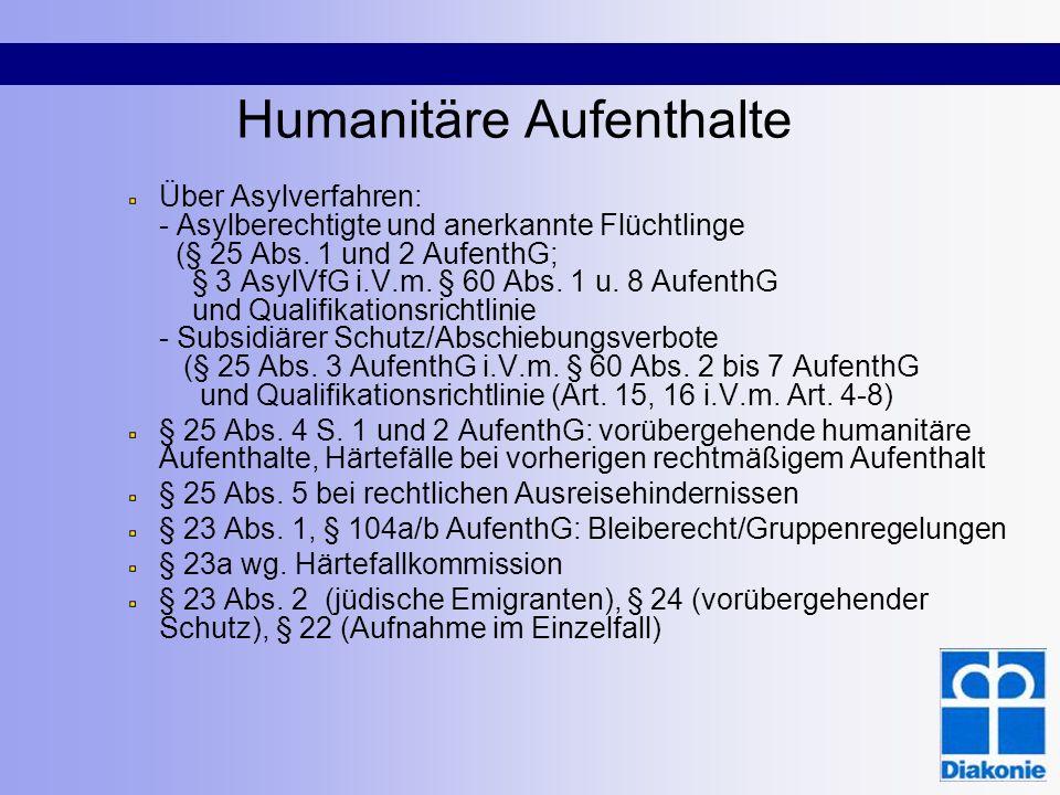 Humanitäre Aufenthalte Über Asylverfahren: - Asylberechtigte und anerkannte Flüchtlinge (§ 25 Abs. 1 und 2 AufenthG; § 3 AsylVfG i.V.m. § 60 Abs. 1 u.