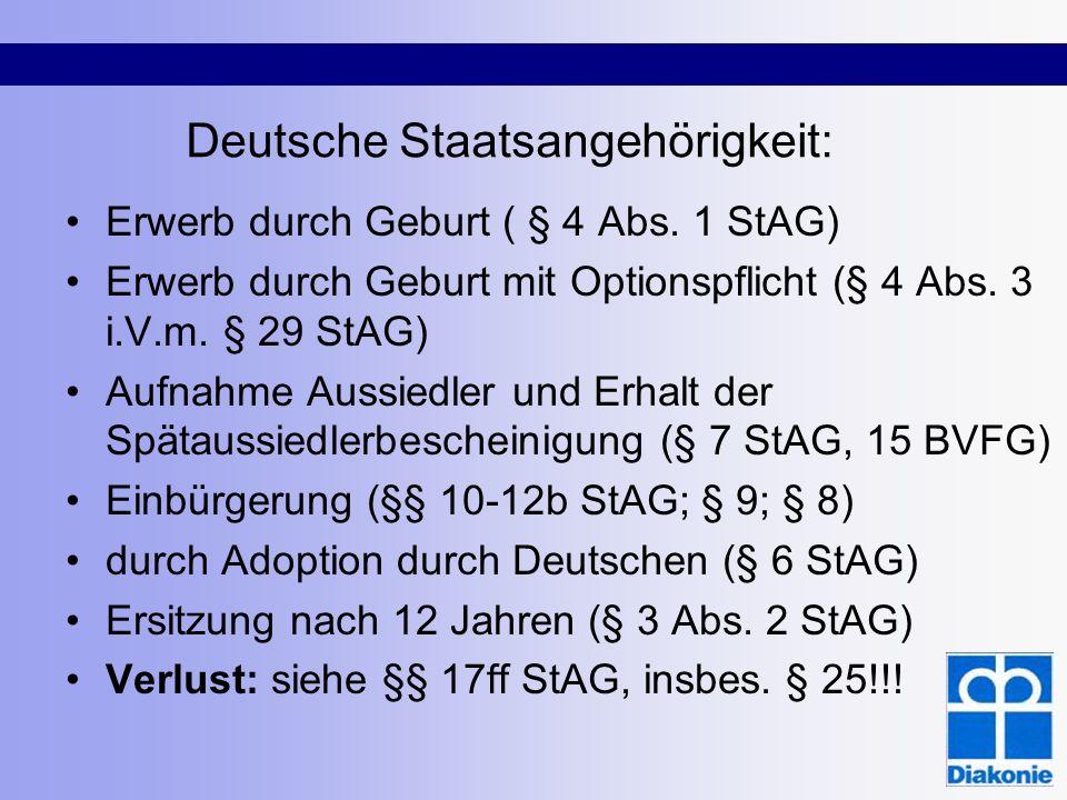 Deutsche Staatsangehörigkeit: Erwerb durch Geburt ( § 4 Abs. 1 StAG) Erwerb durch Geburt mit Optionspflicht (§ 4 Abs. 3 i.V.m. § 29 StAG) Aufnahme Aus