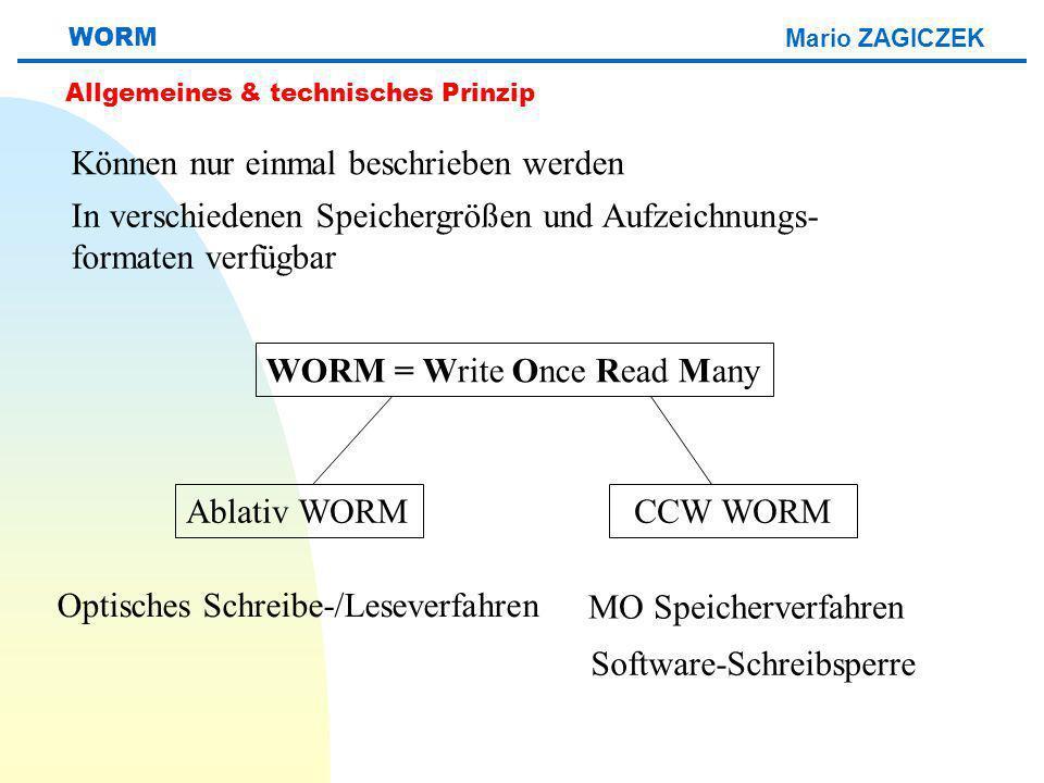 Mario ZAGICZEK WORM Allgemeines & technisches Prinzip WORM = Write Once Read Many Ablativ WORMCCW WORM Können nur einmal beschrieben werden In verschiedenen Speichergrößen und Aufzeichnungs- formaten verfügbar Optisches Schreibe-/Leseverfahren MO Speicherverfahren Software-Schreibsperre
