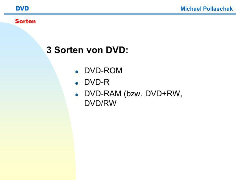 3 Sorten von DVD: DVD-ROM DVD-R DVD-RAM (bzw. DVD+RW, DVD/RW DVD Michael Pollaschak Sorten