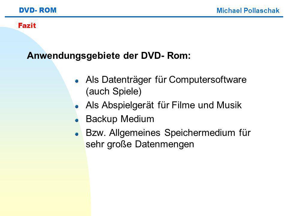 Als Datenträger für Computersoftware (auch Spiele) Als Abspielgerät für Filme und Musik Backup Medium Bzw.