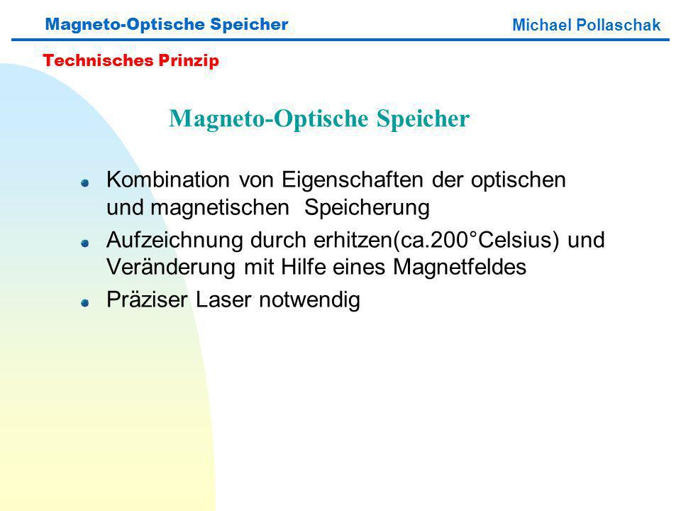Kombination von Eigenschaften der optischen und magnetischen Speicherung Aufzeichnung durch erhitzen(ca.200°Celsius) und Veränderung mit Hilfe eines Magnetfeldes Präziser Laser notwendig Magneto-Optische Speicher Michael Pollaschak Technisches Prinzip Magneto-Optische Speicher
