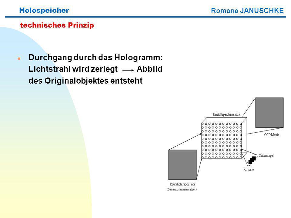n Durchgang durch das Hologramm: Lichtstrahl wird zerlegt Abbild des Originalobjektes entsteht Holospeicher technisches Prinzip Romana JANUSCHKE