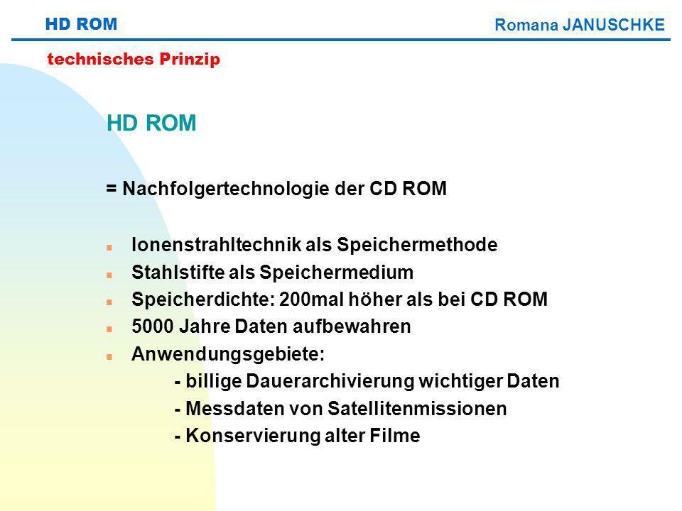 HD ROM = Nachfolgertechnologie der CD ROM n Ionenstrahltechnik als Speichermethode n Stahlstifte als Speichermedium n Speicherdichte: 200mal höher als
