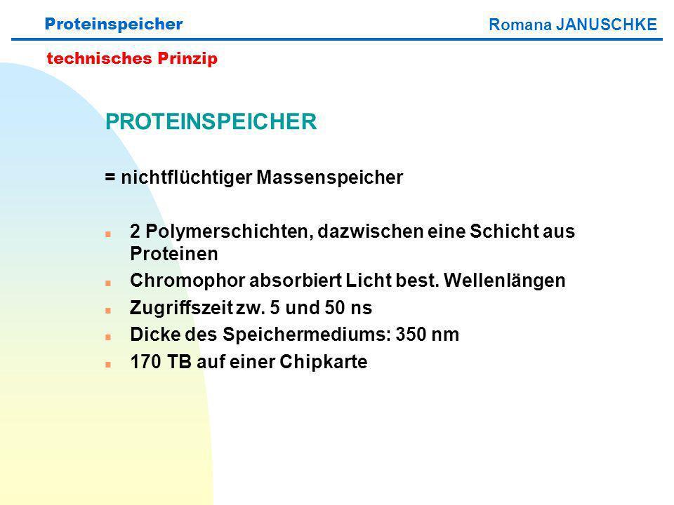 Proteinspeicher PROTEINSPEICHER = nichtflüchtiger Massenspeicher n 2 Polymerschichten, dazwischen eine Schicht aus Proteinen n Chromophor absorbiert L