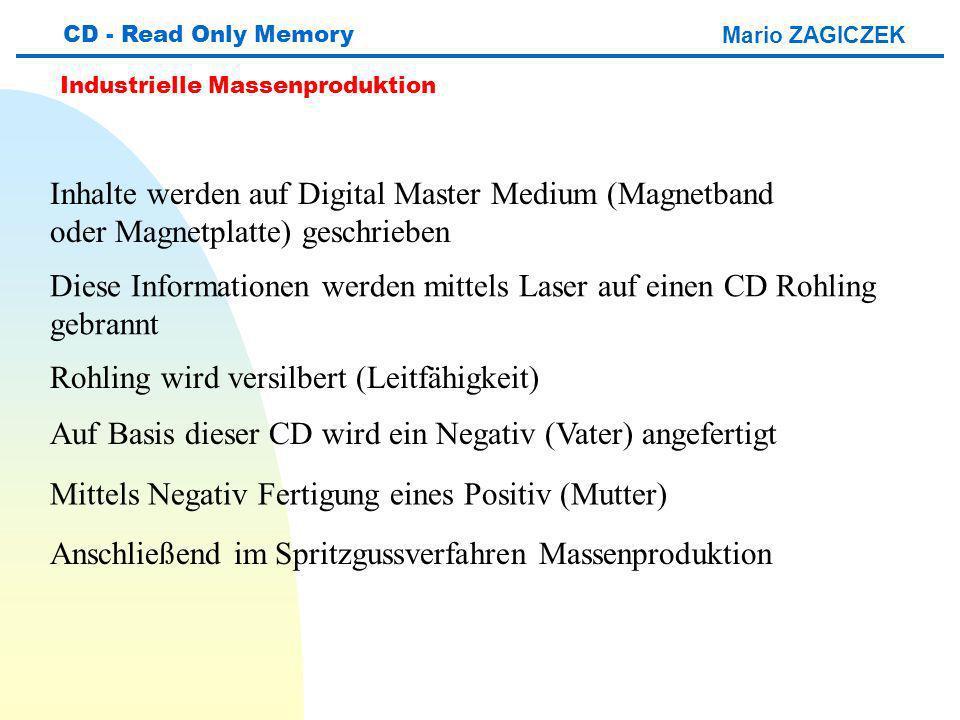 Mario ZAGICZEK CD - Read Only Memory Industrielle Massenproduktion Inhalte werden auf Digital Master Medium (Magnetband oder Magnetplatte) geschrieben Diese Informationen werden mittels Laser auf einen CD Rohling gebrannt Rohling wird versilbert (Leitfähigkeit) Auf Basis dieser CD wird ein Negativ (Vater) angefertigt Mittels Negativ Fertigung eines Positiv (Mutter) Anschließend im Spritzgussverfahren Massenproduktion