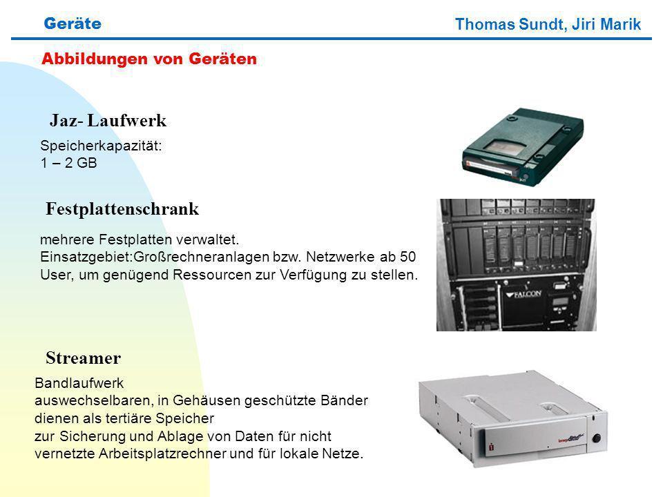 Thomas Sundt, Jiri Marik Geräte Abbildungen von Geräten Jaz- Laufwerk Festplattenschrank Streamer Speicherkapazität: 1 – 2 GB Bandlaufwerk auswechselb