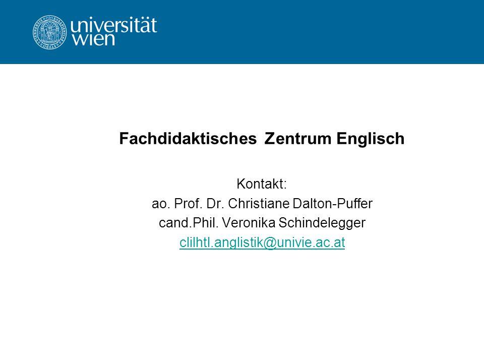 Fachdidaktisches Zentrum Englisch Kontakt: ao. Prof.