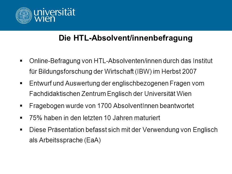 Die HTL-Absolvent/innenbefragung Online-Befragung von HTL-Absolventen/innen durch das Institut für Bildungsforschung der Wirtschaft (IBW) im Herbst 2007 Entwurf und Auswertung der englischbezogenen Fragen vom Fachdidaktischen Zentrum Englisch der Universität Wien Fragebogen wurde von 1700 AbsolventInnen beantwortet 75% haben in den letzten 10 Jahren maturiert Diese Präsentation befasst sich mit der Verwendung von Englisch als Arbeitssprache (EaA)