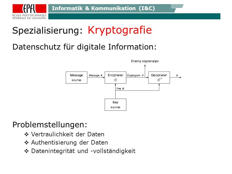 Informatik & Kommunikation (I&C) Spezialisierung: Kryptografie Datenschutz für digitale Information: Problemstellungen: Vertraulichkeit der Daten Authentisierung der Daten Datenintegrität und -vollständigkeit