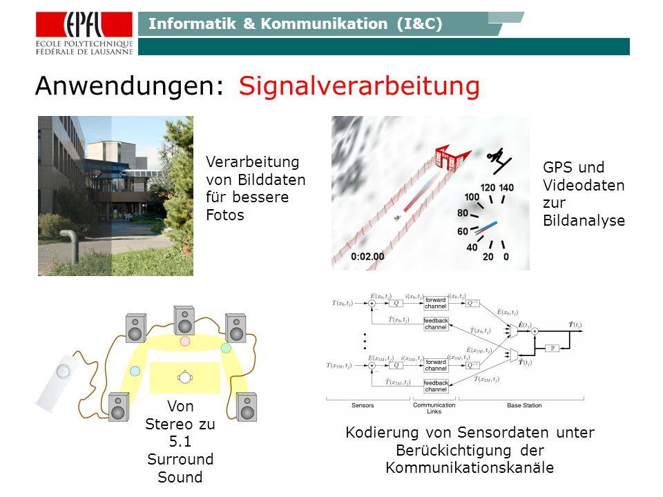 Informatik & Kommunikation (I&C) Anwendungen: Signalverarbeitung Von Stereo zu 5.1 Surround Sound GPS und Videodaten zur Bildanalyse Verarbeitung von Bilddaten für bessere Fotos Kodierung von Sensordaten unter Berückichtigung der Kommunikationskanäle