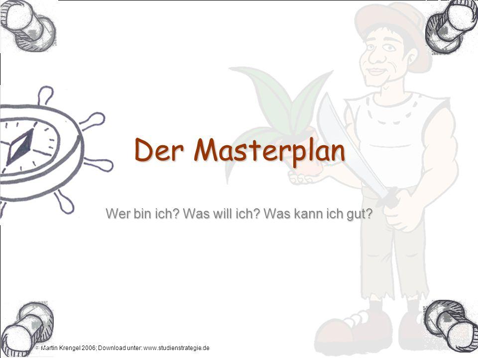 © Martin Krengel 2006; Download unter: www.studienstrategie.de Anleitung Dies ist eine etwas ausführlichere Strategiekarte, in der du genügend Platz und Flexibilität hast deinen Masterplan schriftlich festzuhalten.