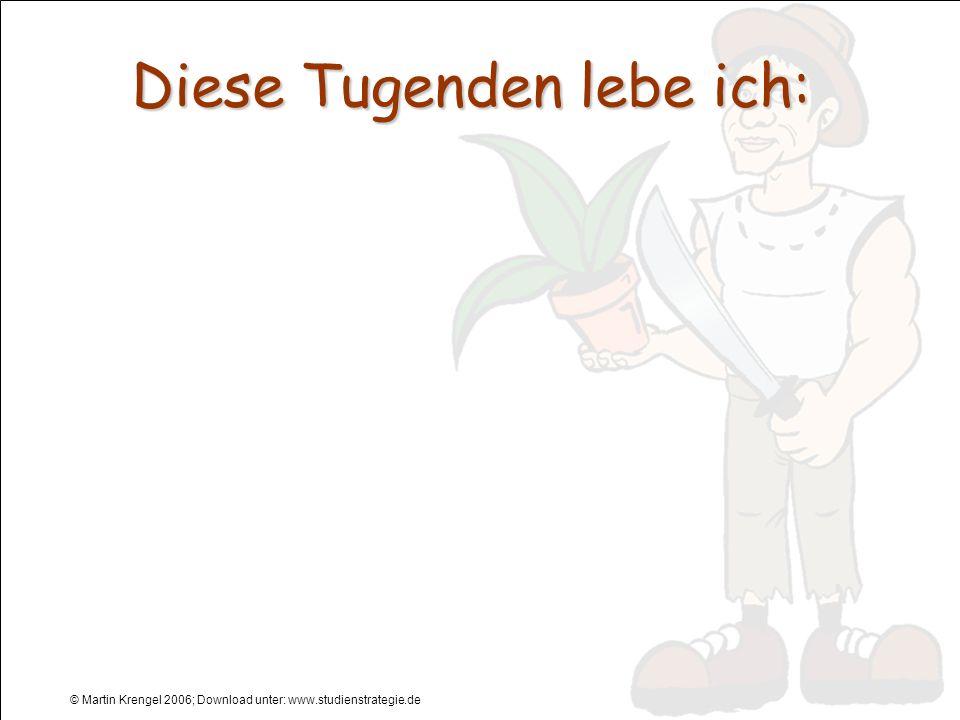 © Martin Krengel 2006; Download unter: www.studienstrategie.de Diese Tugenden lebe ich: