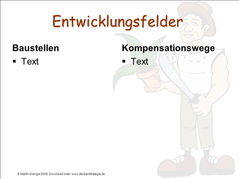 © Martin Krengel 2006; Download unter: www.studienstrategie.de Entwicklungsfelder Baustellen Text Kompensationswege Text