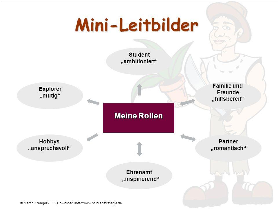 © Martin Krengel 2006; Download unter: www.studienstrategie.de Mini-Leitbilder Ehrenamt inspirierend Partner romantisch Student ambitioniert Familie u