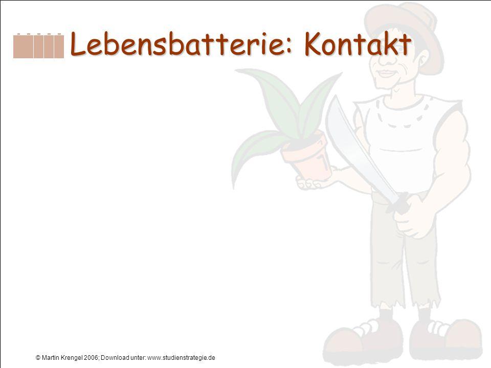 © Martin Krengel 2006; Download unter: www.studienstrategie.de Lebensbatterie: Kontakt