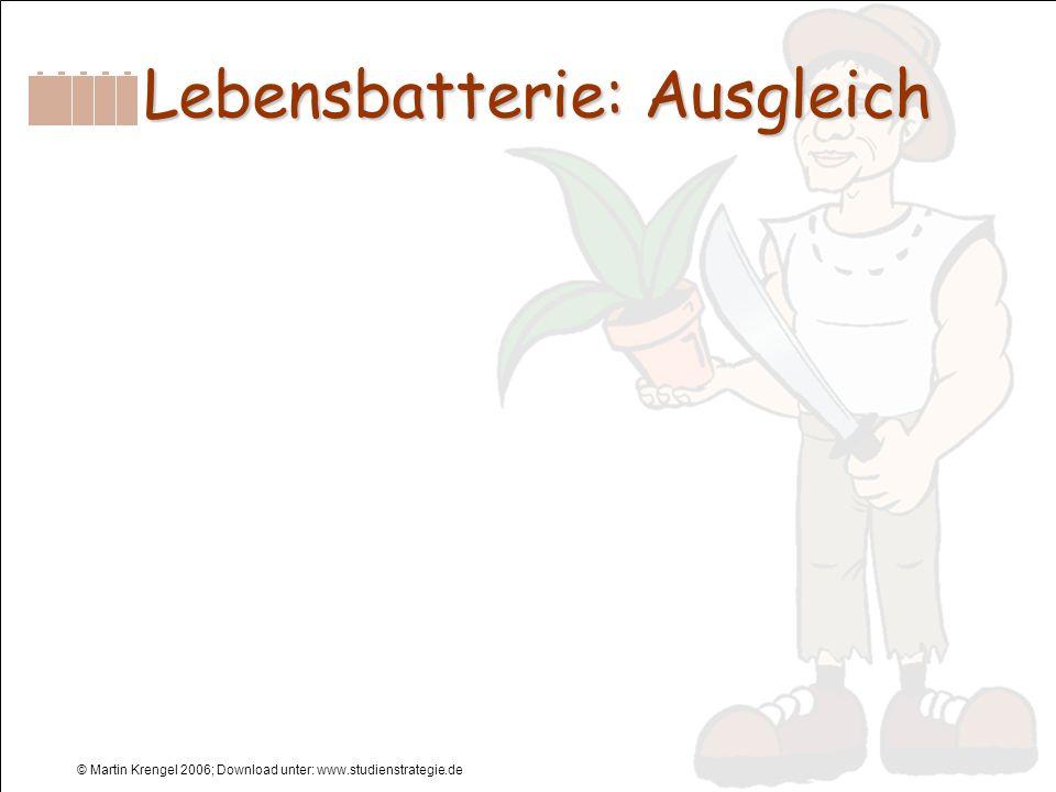 © Martin Krengel 2006; Download unter: www.studienstrategie.de Lebensbatterie: Ausgleich Lebensbatterie: Ausgleich