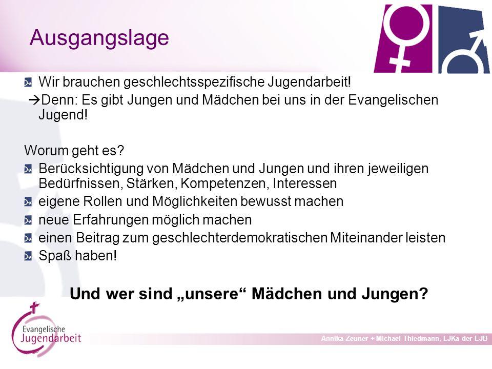 Annika Zeuner + Michael Thiedmann, LJKa der EJB Ausgangslage Wir brauchen geschlechtsspezifische Jugendarbeit.