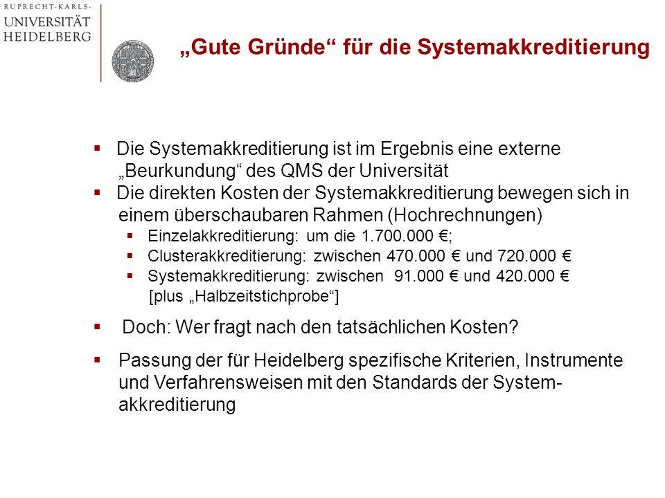 Die Systemakkreditierung ist im Ergebnis eine externe Beurkundung des QMS der Universität Die direkten Kosten der Systemakkreditierung bewegen sich in