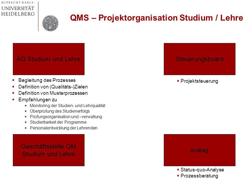 Begleitung des Prozesses Definition von (Qualitäts-)Zielen Definition von Musterprozessen Empfehlungen zu Monitoring der Studien- und Lehrqualität Übe