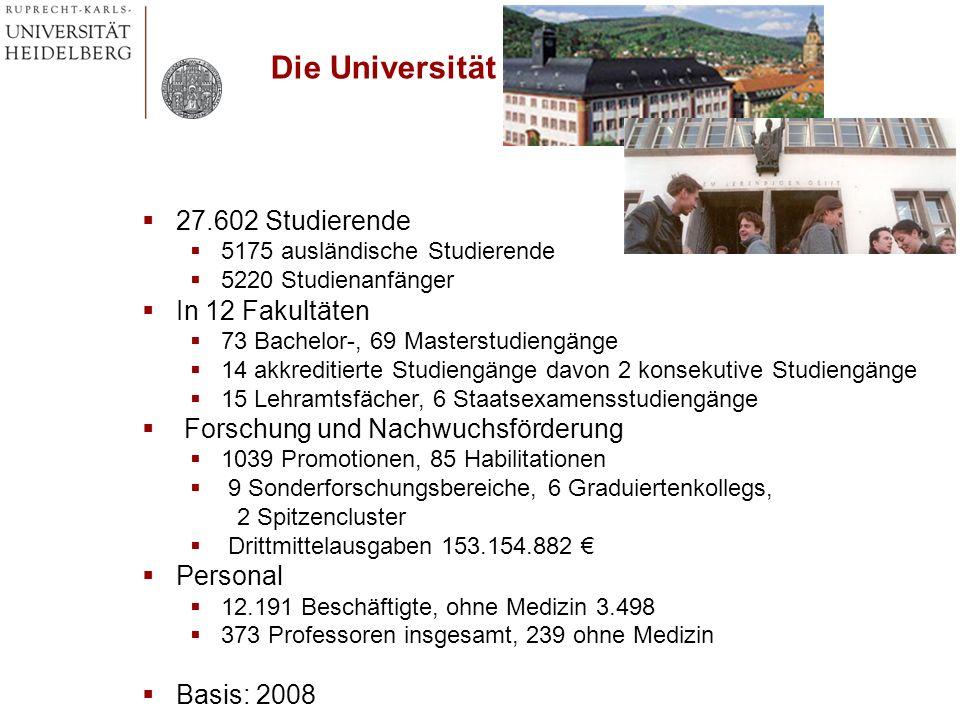 Die Universität 27.602 Studierende 5175 ausländische Studierende 5220 Studienanfänger In 12 Fakultäten 73 Bachelor-, 69 Masterstudiengänge 14 akkredit