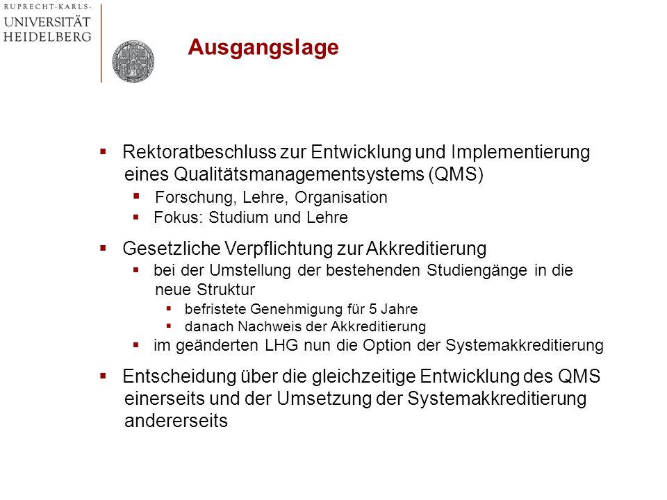 Rektoratbeschluss zur Entwicklung und Implementierung eines Qualitätsmanagementsystems (QMS) Forschung, Lehre, Organisation Fokus: Studium und Lehre G