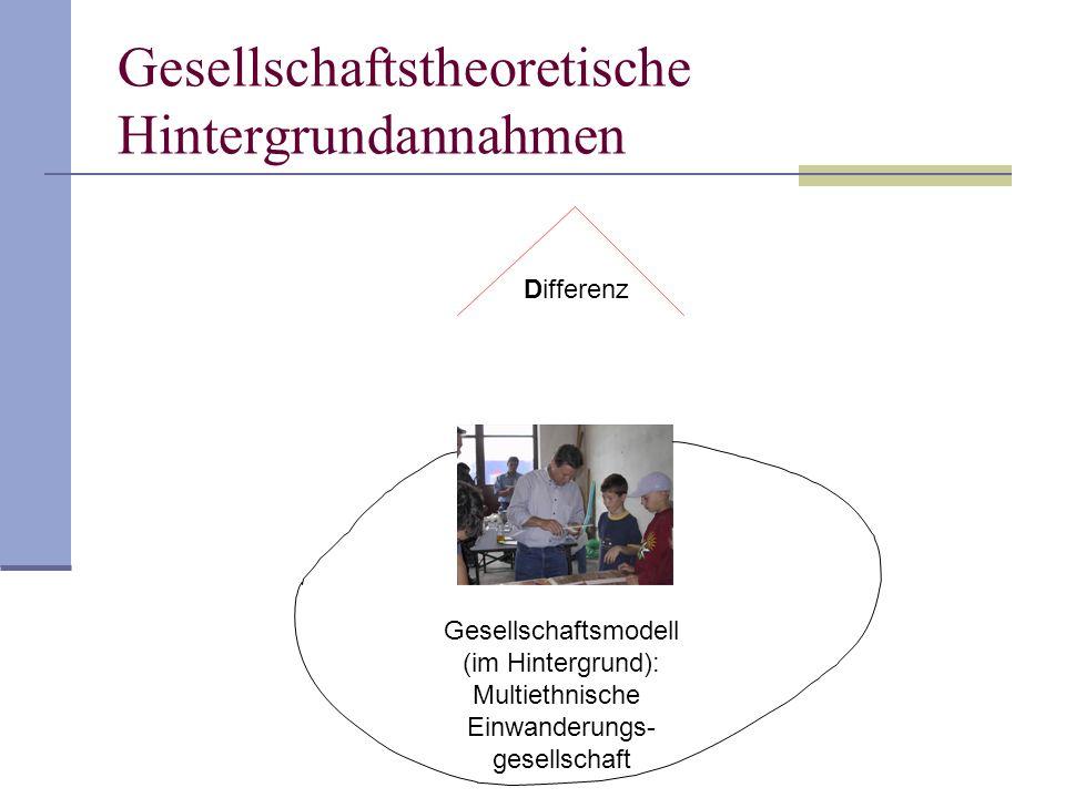 Differenz Gesellschaftsmodell (im Hintergrund): Multiethnische Einwanderungs- gesellschaft Gesellschaftstheoretische Hintergrundannahmen