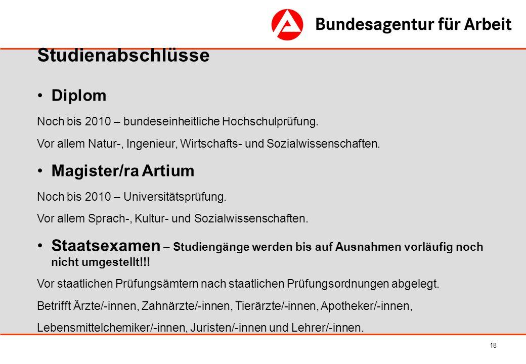 18 Studienabschlüsse Diplom Noch bis 2010 – bundeseinheitliche Hochschulprüfung. Vor allem Natur-, Ingenieur, Wirtschafts- und Sozialwissenschaften. M