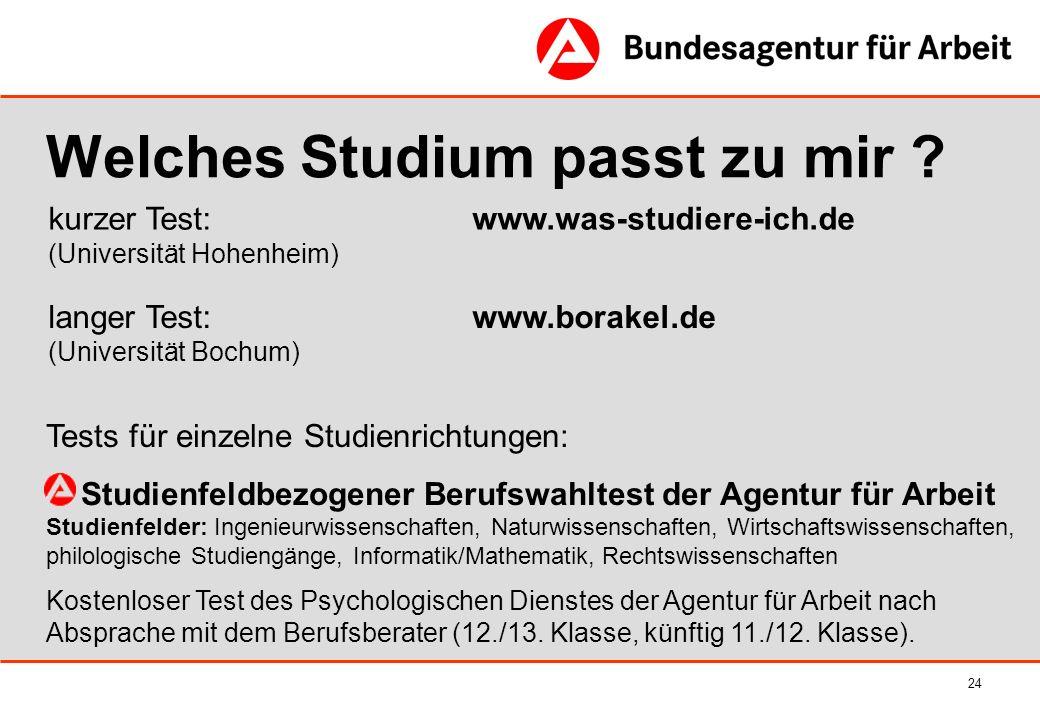 24 kurzer Test: www.was-studiere-ich.de (Universität Hohenheim) Welches Studium passt zu mir ? Tests für einzelne Studienrichtungen: Studienfeldbezoge